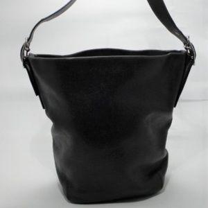 COACH Black Leather Duffle Tote Shoulder Handbag
